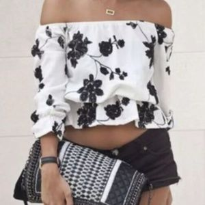 Tops - Black and White Off the Shoulder Blouse